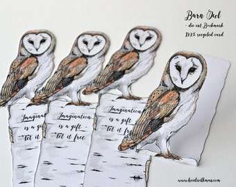 Barn Owl Bookmark, Owl Notelet, Handmade Bookmark, Gift for Book Lovers