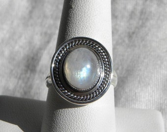 Moonstone Ring Handmade Ring Rainbow Moonstone Blue Flash 10x12mm Gemstone Ring Sterling Silver Sizes 9 Take 20% Off Blue Moonstone Jewelry