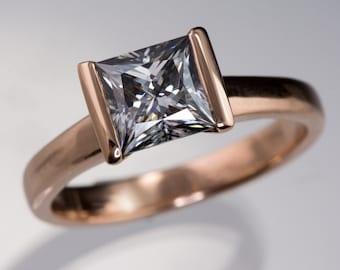 Princess Cut Gray Moissanite Rose Gold Engagement Ring, Solitaire Ring, Unique Half Bezel Moissanite Ring