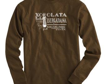 LS Xocolata Tee - Long Sleeve Chocolate T-shirt - Men and Kids - S M L XL 2x 3x 4x - Spain Shirt, Spanish, Art Deco, Foodie - 4 Colors