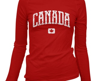 Women's Canada Long Sleeve Tee - S M L XL 2x - Ladies' Canada T-shirt, Canadian - 4 Colors