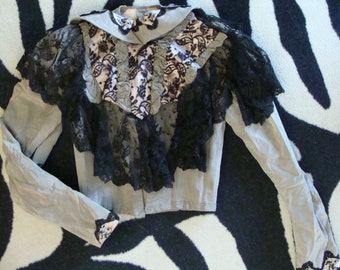 STEAMPUNK SKIRT and JACKET set 1880's 1890's silver gray 29 bust
