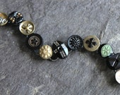 Antique Button Bracelet, Black Glass, pewter, and mixed metal buttons