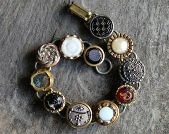 Antique Button Bracelet, Waistcoat, 1800's