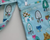 New Item! Double zippered Wet Dry Bag *Mushroom Town with Owls