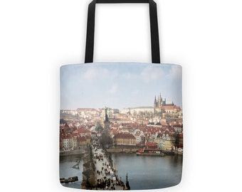 City View of Prague Praha Tote for Eco Shopping and School and Sundry