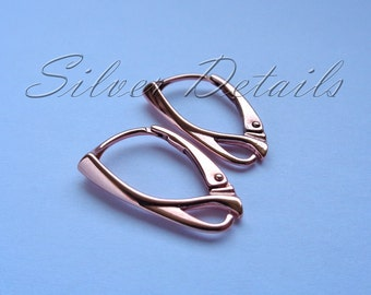 Top Quality Rose Gold Vermeil over Sterling Silver Leverbacks 925 earring finding reference code L3R