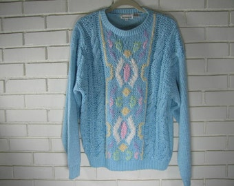 Vintage Hand knitted pastel colored sweater size M   very oversize