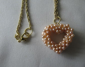 Vintage pink Freshwater pearl heart necklace