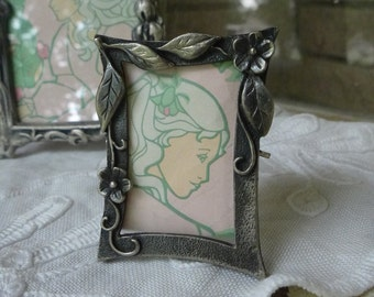 Miniature Pewter Frame vintage 80s small frame with applied floral detail mini frame