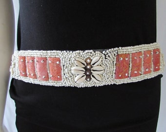vintage Belt Shells Beads Boho Orange White, string tie. adjustable. retro high fashion
