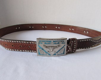 NOCONA Belt Vintage Leather/Cowhide/ Tooled / Belt and Buckle Silver/Turquoise Alpaca Silver Mexico Steer Horns Western/Cowboy/Roper