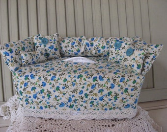 Couch Tissue Box Cover Mini Couch Light Ivory with Small Blue Green Aqua Floral Print, Buttons Home Decor Bathroom Decor Bedroom Decor
