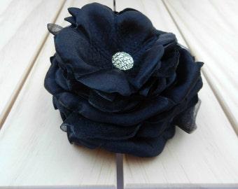 BLACK flower hair clip, black fabric flower, black rose hair clip FHP-0001
