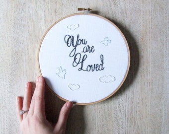 You Are Loved Embroidery Nursery Art Clouds and Birds