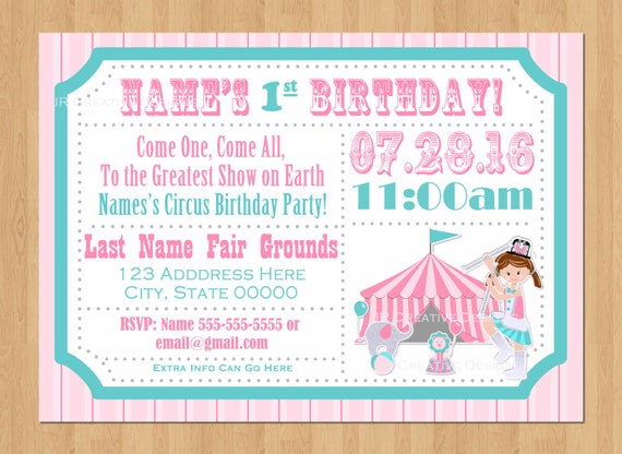 Circus Ticket Invitation Girl Carnival Ticket Invite Girl Circus