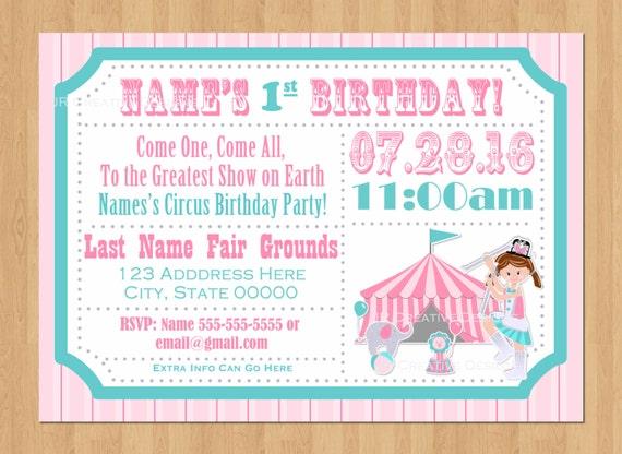 Circus Ticket Invitation Girl Carnival Ticket Invite Girl Circus