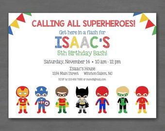 Super Hero Birthday Party Invitation--Ironman Flash Batman Robin Green Lantern Spiderman Captain America