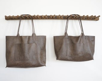 Belleville Tote  - Available in Two Sizes -Italian leather - Bark