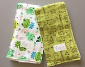 Green Animal Print Cloth Diaper Burp Cloths - Set of 2 - Ready to Ship