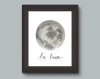 The Moon La Luna Watercolor Art Print, Full Moon Wall Decor, Modern Gray Space Celestial Print, Geek Nerd Art
