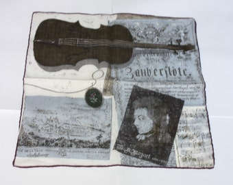 Mozart Handkerchief, Vintage Excellent Condition, Violin Music Notes, Rose Pendant Cupids and Mountain