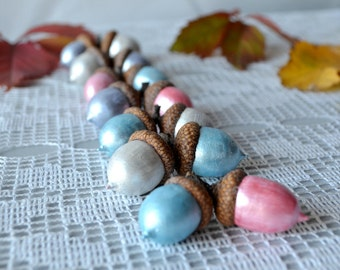 Acorn home decor, Set of 10, Fall decor, Halloween Home Decor, Natural Jewelry, Nature Rustic, Autumn Crafts, Natural Acorn, Supply.