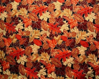 Hoffman Multi Orange Autumn Leaves with Metallic Gold