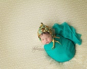 ready to ship newborn pixie bonnet hat,newborn photography prop, mustard teal knitted baby pixie handspun bonnet hat,newborn girl photo prop