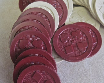 Poker Chips Vintage Supplies for Repurpose Thick Plastic with Card Suits BURGUNDY and CREAM Lot of 26: 13 of Each Color