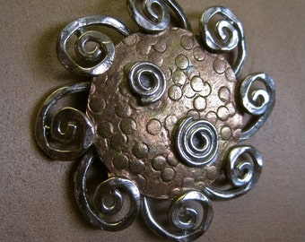 Signed ART Pendant Necklace Modernist Pounded Copper and Silver Curliques REPURPOSED Vintage 60S Brooch Brutalist Primitive Tribal