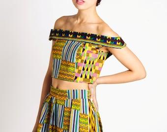 African Print Off Shoulder Bodice Green Mustard Teal