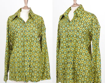 Vintage 1980s / Silk Geometric Double S 1929 Blue and Green Cubes Unisex Shirt / Size Large