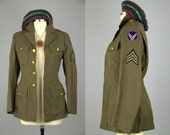 Vintage WW2 Officers Coat Army Green Wool Hippie Button Up Dress Coat