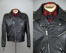 Vintage Harley Davidson Motorcyce Jacket Black Cowhide Leather Biker Punk Jacket