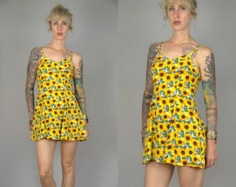 90s Sunflower Micro Mini Babydoll Grunge Sun Dress