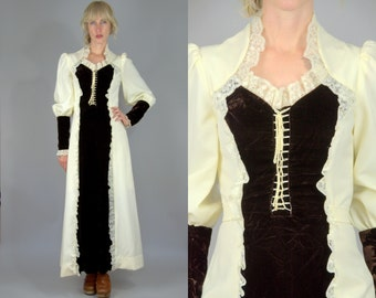 70s Renaissance Dress Corset Front Brown Velvet High Collar Prairie Hippie Festival Dress