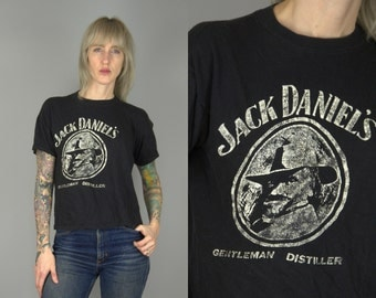 70s Jack Daniel's Whiskey Gentleman Distiller Distressed Cotton T Shirt