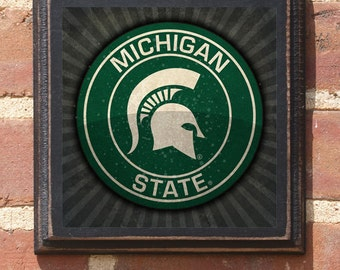 Michigan State Spartans Seal Logo Wall Art Sign Plaque, Gift Present, Home Decor, Vintage Style, Man Cave Fan Sparty Go Green Antiqued