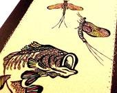 Art Notecard, doodled Large Mouth Bass and Mayflies