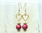 Red Bead & Open Gold Heart Charm Dangle Earrings, Handmade Original Design Fashion Jewelry, Simple Unique Romantic Valentine's Day Gift Idea