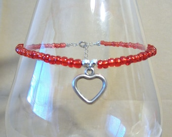 Red Bead Anklet w/Silver Open Heart Charm, Glass Seed Bead Ankle Bracelet, Silver Heart Charm, Plus Size Anklet, Handmade Beaded Jewelry