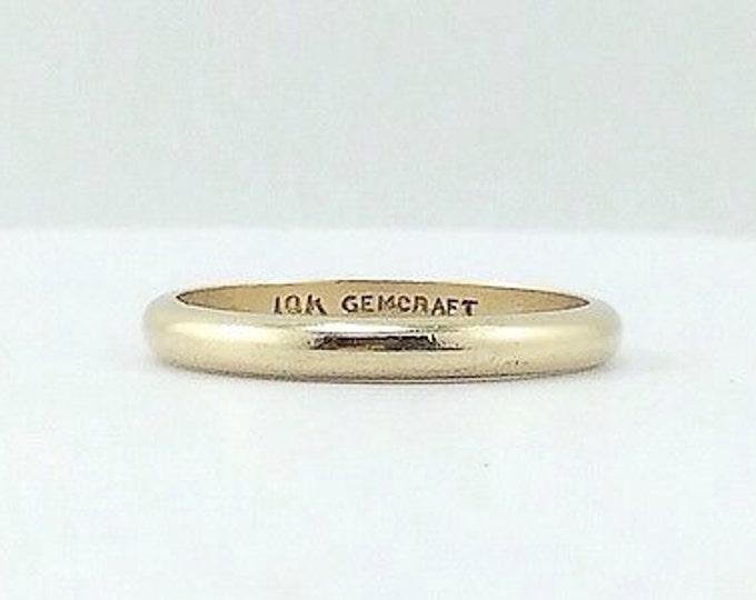 Stunning Vintage Gold Wedding Band Ring, Vintage Solid 10k gold wedding ring. band gold ring. Estate.