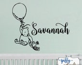 Winnie The Pooh Personalized Name Wall Decal Vinyl Sticker Custom Classic Winnie Piglet Balloon