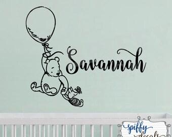 Winnie The Pooh Personalized Name Wall Decal Vinyl Sticker Custom Classic Winnie Piglet Balloon