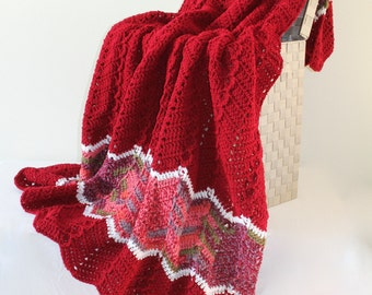 Afghan - Ripple Crochet Blanket - red with salmon multi - Red toned Chevron Throw