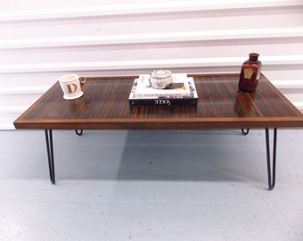 Wooden Art Deco Style Coffee Table with Hairpin Legs