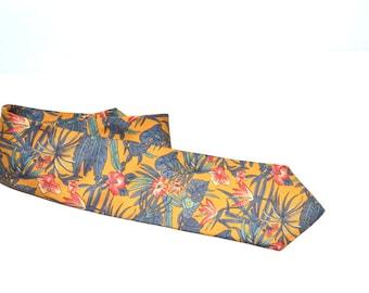 Vintage designer  Briar floral tie tropical flowers hibiscus vacation wedding tie