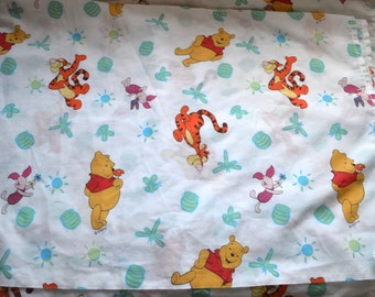 Vintage Disney Winnie the Pooh 1 flat sheet Tigger Piglet  baby nursery retro fabric curtains kids made in USA