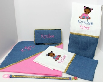 Hot Pink and Denim Receiving Blanket w/ Burp Cloths, Travel wipe case and Binky Holder